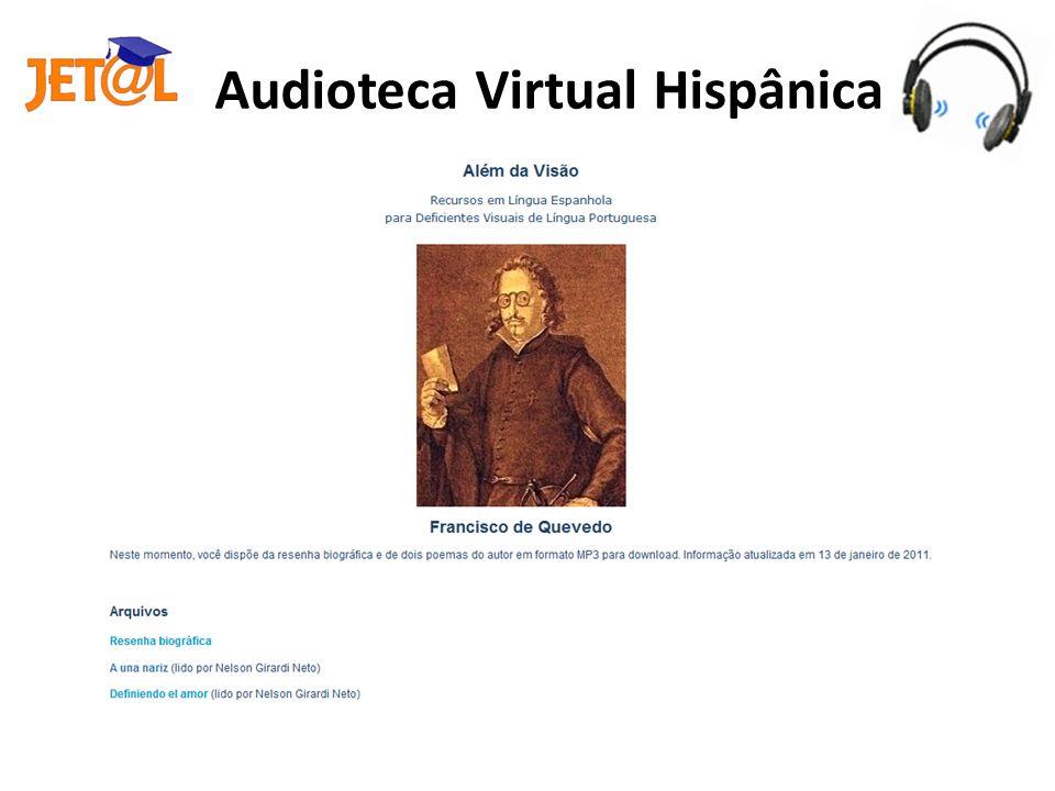 O processo de elaboração da Audioteca Virtual Hispânica O processo de elaboração da Audioteca Virtual Hispânica envolve quatro etapas: Seleção (Literatura Espanhola e hispanoamericana) Seleção (Literatura Espanhola e hispanoamericana) Postagem* dos arquivos Gravação Edição (vinheta) Edição (vinheta) * http://w3.ufsm.br/alemdavisaohttp://w3.ufsm.br/alemdavisao