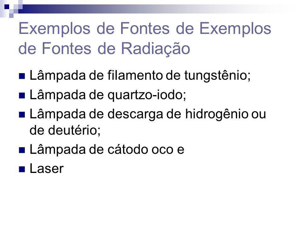 Exemplos de Fontes de Exemplos de Fontes de Radiação Lâmpada de filamento de tungstênio; Lâmpada de quartzo-iodo; Lâmpada de descarga de hidrogênio ou