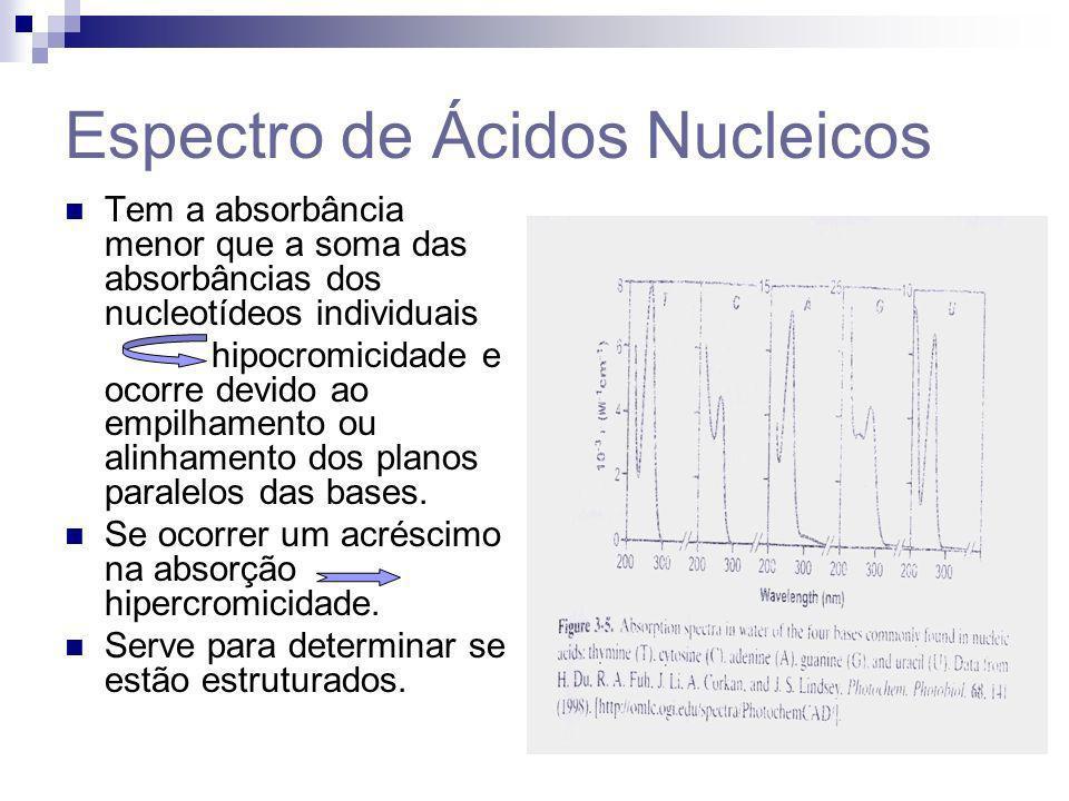Espectro de Ácidos Nucleicos Tem a absorbância menor que a soma das absorbâncias dos nucleotídeos individuais hipocromicidade e ocorre devido ao empil