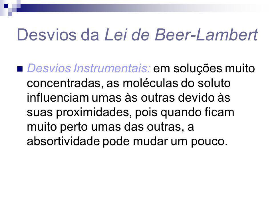 Desvios da Lei de Beer-Lambert Desvios Instrumentais: em soluções muito concentradas, as moléculas do soluto influenciam umas às outras devido às suas
