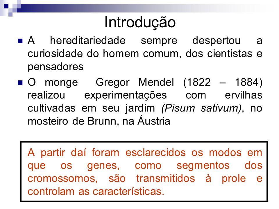 Introdução A hereditariedade sempre despertou a curiosidade do homem comum, dos cientistas e pensadores O monge Gregor Mendel (1822 – 1884) realizou e