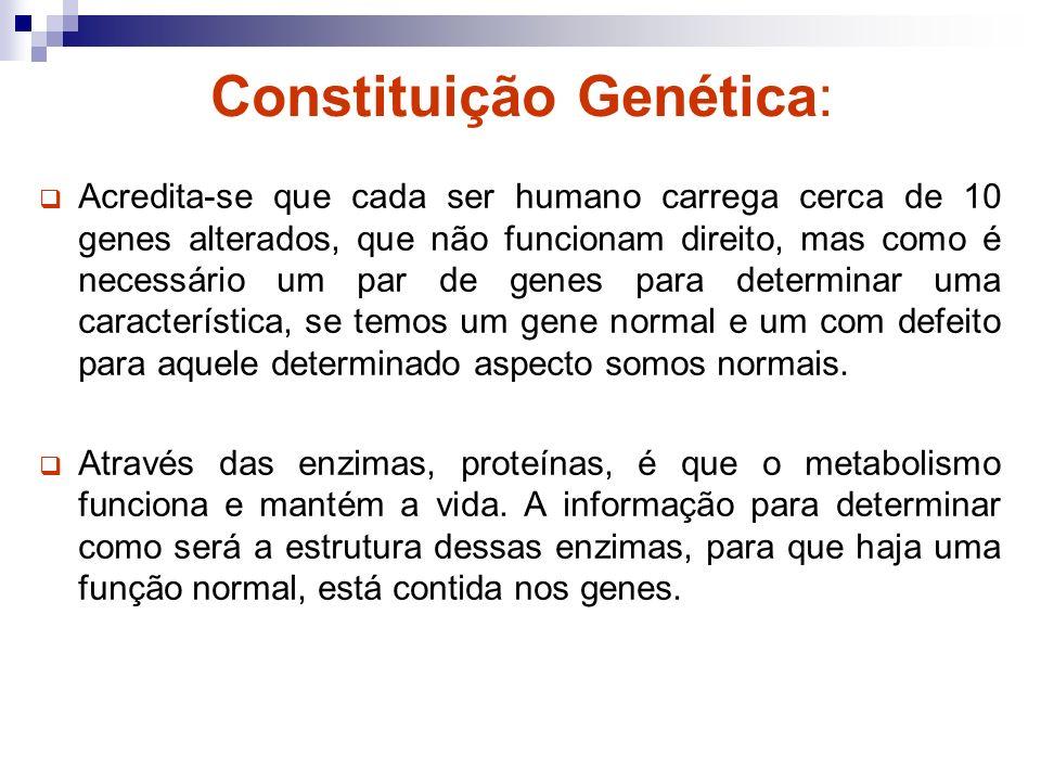 Constituição Genética: Acredita-se que cada ser humano carrega cerca de 10 genes alterados, que não funcionam direito, mas como é necessário um par de