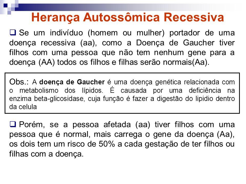 Herança Autossômica Recessiva Se um indivíduo (homem ou mulher) portador de uma doença recessiva (aa), como a Doença de Gaucher tiver filhos com uma p