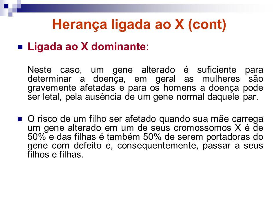 Herança ligada ao X (cont) Ligada ao X dominante: Neste caso, um gene alterado é suficiente para determinar a doença, em geral as mulheres são graveme