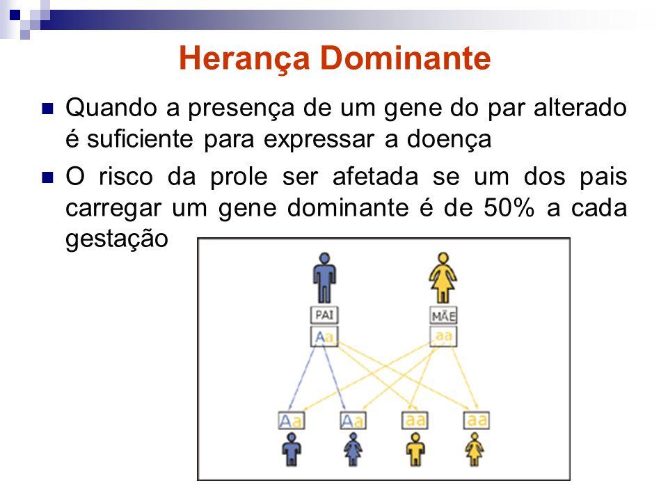 Herança Dominante Quando a presença de um gene do par alterado é suficiente para expressar a doença O risco da prole ser afetada se um dos pais carreg