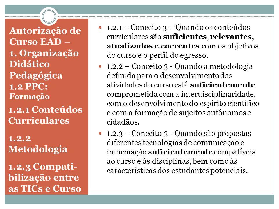 Autorização de Curso EAD – 1. Organização Didático Pedagógica 1.2 PPC: Formação 1.2.1 Conteúdos Curriculares 1.2.2 Metodologia 1.2.3 Compati- bilizaçã