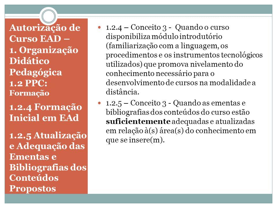 Autorização de Curso EAD – 1. Organização Didático Pedagógica 1.2 PPC: Formação 1.2.4 Formação Inicial em EAd 1.2.5 Atualização e Adequação das Ementa
