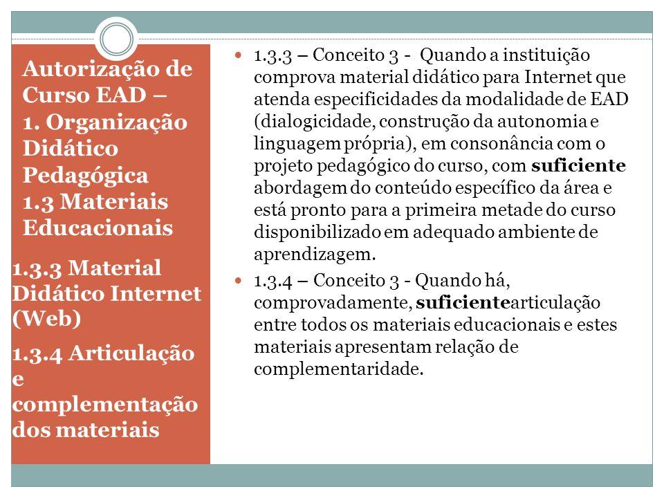 Autorização de Curso EAD – 1. Organização Didático Pedagógica 1.3 Materiais Educacionais 1.3.3 Material Didático Internet (Web) 1.3.4 Articulação e co
