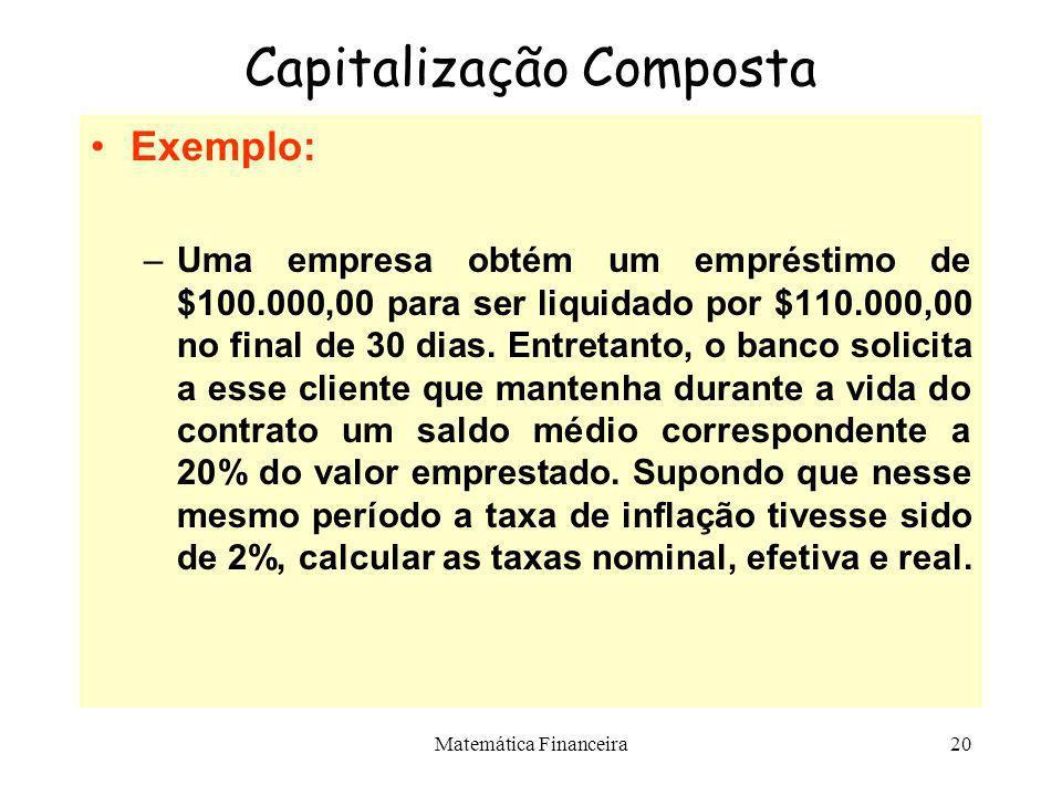 Matemática Financeira19 Capitalização Composta Taxa Efetiva ou Capitalizada –É aquela que nos fornece o total dos juros produzidos durante o prazo de