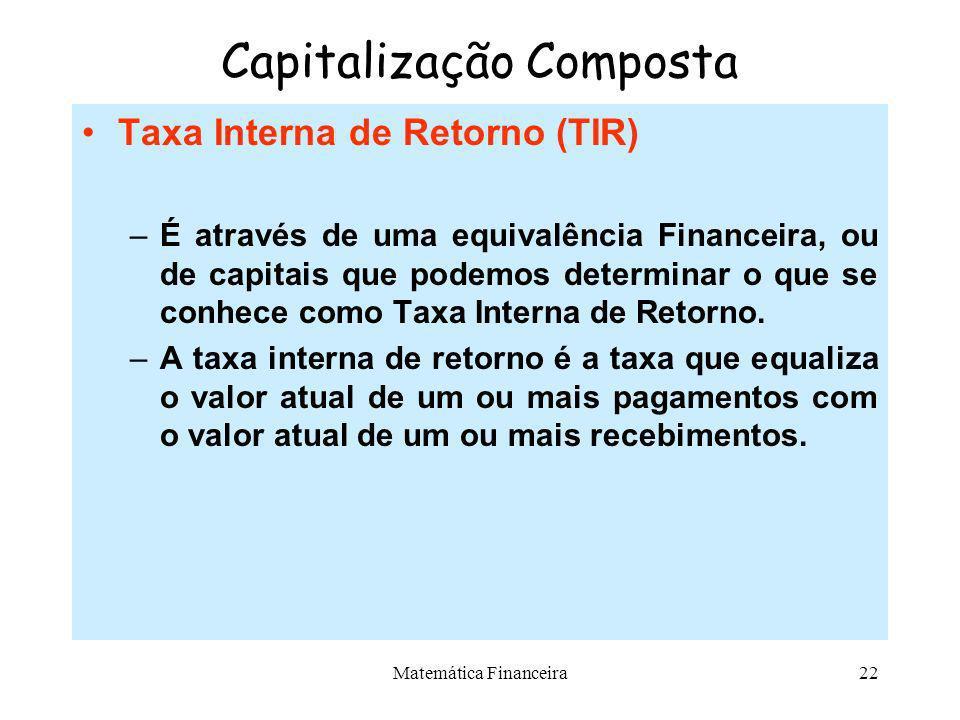 Matemática Financeira21 Capitalização Composta Equivalência de Capitais –O conceito de equivalência permite transformar formas de pagamentos ou recebi