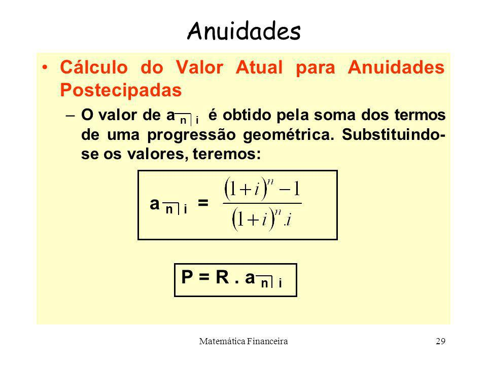 Matemática Financeira28 Anuidades Valor Atual do Modelo Básico P R R R R R 0 1 2 3 n-1 n A soma do valor atual dos termos na data zero é dada por: P =