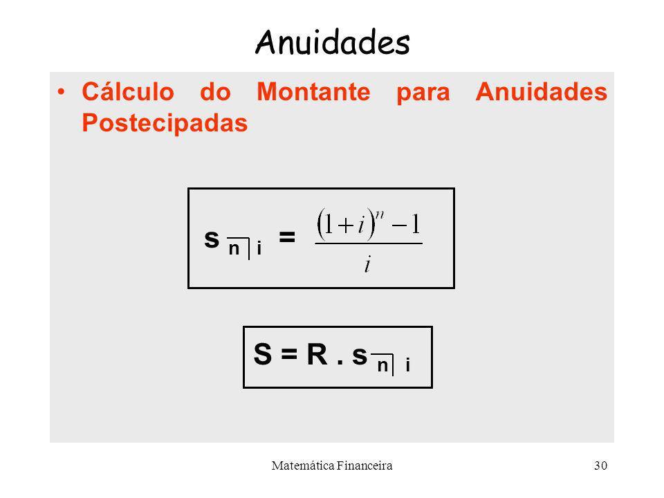 Matemática Financeira29 Anuidades Cálculo do Valor Atual para Anuidades Postecipadas –O valor de a n i é obtido pela soma dos termos de uma progressão