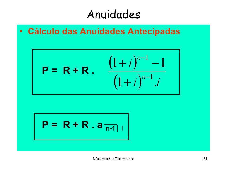 Matemática Financeira30 Anuidades Cálculo do Montante para Anuidades Postecipadas s n i = S = R. s n i