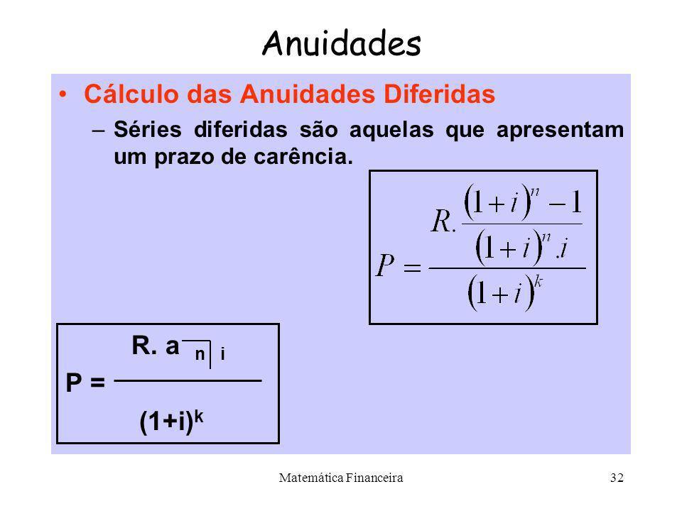 Matemática Financeira31 Anuidades Cálculo das Anuidades Antecipadas P = R + R. P = R + R. a n-1 i