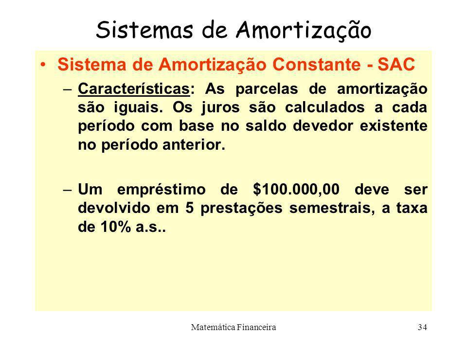 Matemática Financeira33 Sistemas de Amortização –De maneira geral, qualquer fluxo de pagamentos para liquidar um empréstimo é um sistema de amortizaçã
