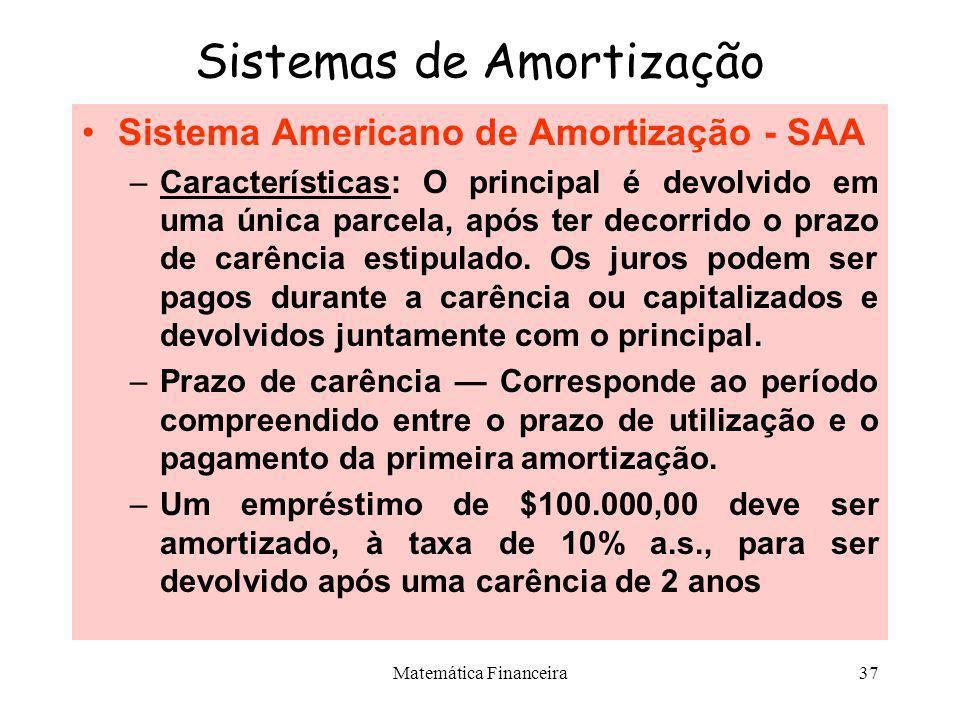 Matemática Financeira36 Sistemas de Amortização Sistema de Amortização Misto - SAM –Características: Prestações cujos valores são resultantes da média