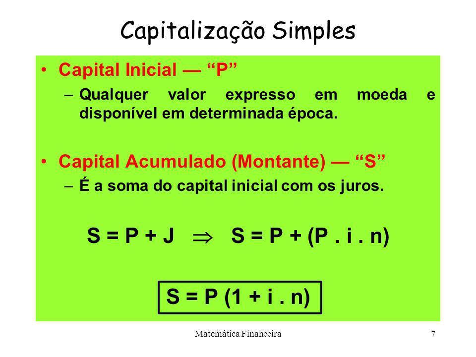 Matemática Financeira6 Capitalização Simples CONVENÇÕES ADOTADAS: Juros Exatos Juros Comerciais