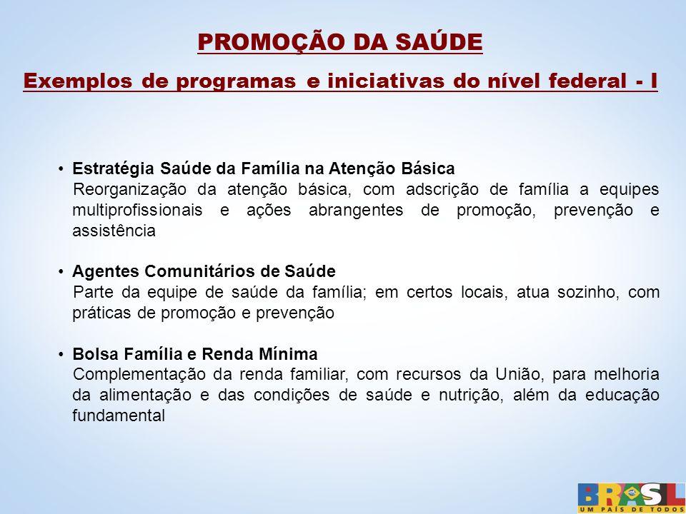 PROMOÇÃO DA SAÚDE Exemplos de programas e iniciativas do nível federal - I Estratégia Saúde da Família na Atenção Básica Reorganização da atenção bási