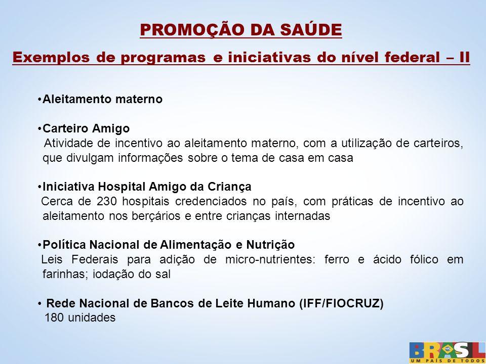 PROMOÇÃO DA SAÚDE Exemplos de programas e iniciativas do nível federal – II Aleitamento materno Carteiro Amigo Atividade de incentivo ao aleitamento m