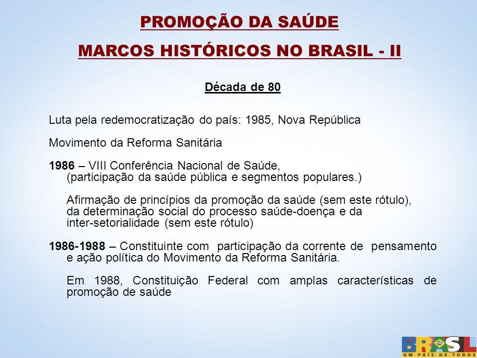 Década de 80 Luta pela redemocratização do país: 1985, Nova República Movimento da Reforma Sanitária 1986 – VIII Conferência Nacional de Saúde, (parti