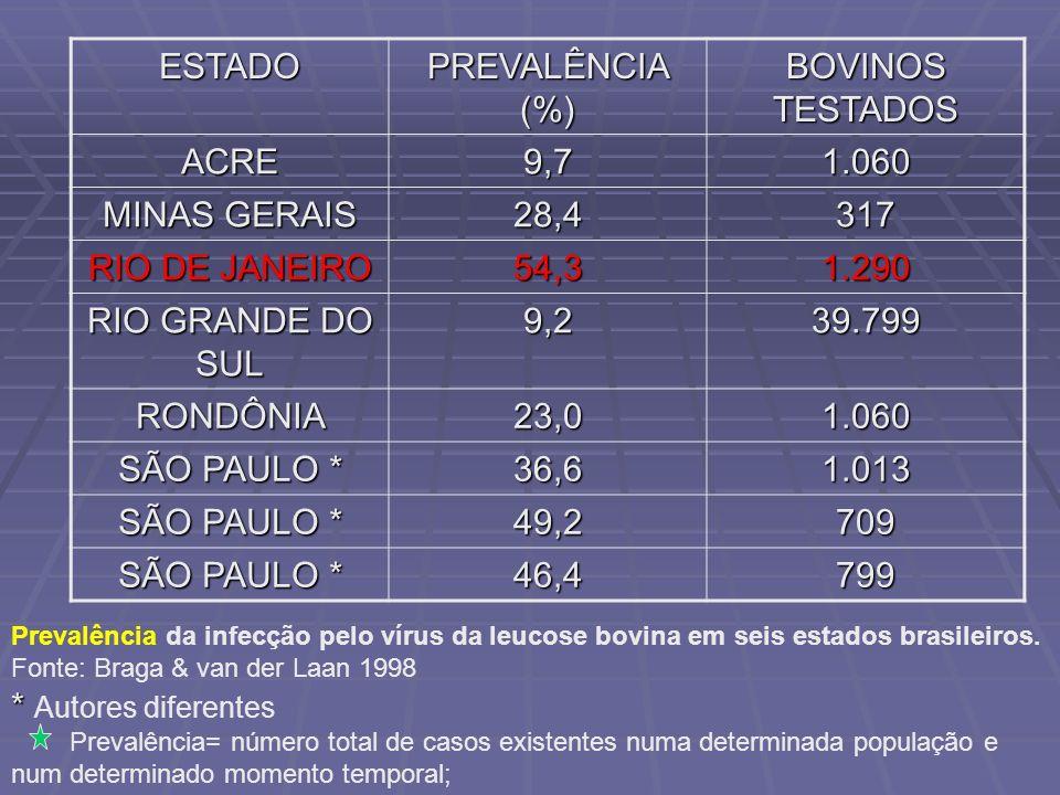 ESTADO PREVALÊNCIA (%) BOVINOS TESTADOS ACRE9,71.060 MINAS GERAIS 28,4317 RIO DE JANEIRO 54,31.290 RIO GRANDE DO SUL 9,239.799 RONDÔNIA23,01.060 SÃO P