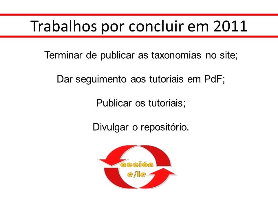 Trabalhos por concluir em 2011 Terminar de publicar as taxonomias no site; Dar seguimento aos tutoriais em PdF; Publicar os tutoriais; Divulgar o repo