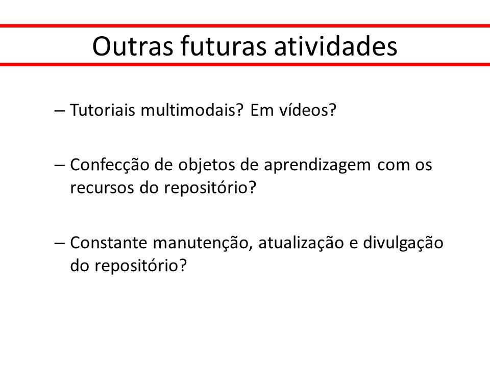 Outras futuras atividades – Tutoriais multimodais? Em vídeos? – Confecção de objetos de aprendizagem com os recursos do repositório? – Constante manut