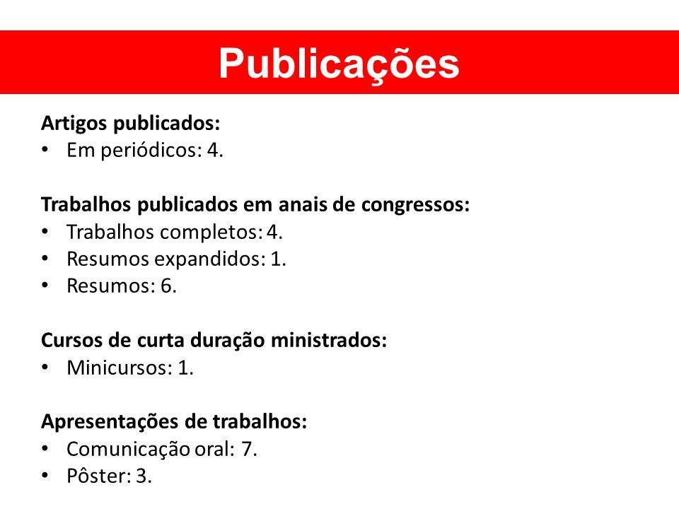 Artigos publicados: Em periódicos: 4. Trabalhos publicados em anais de congressos: Trabalhos completos: 4. Resumos expandidos: 1. Resumos: 6. Cursos d