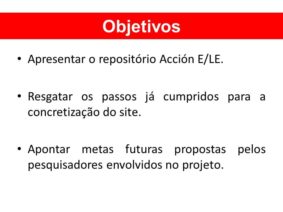 Objetivos Apresentar o repositório Acción E/LE. Resgatar os passos já cumpridos para a concretização do site. Apontar metas futuras propostas pelos pe