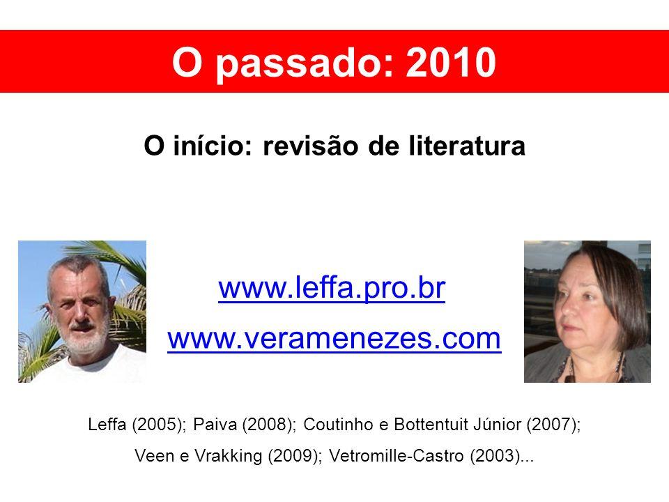www.leffa.pro.br www.veramenezes.com O passado: 2010 O início: revisão de literatura Leffa (2005); Paiva (2008); Coutinho e Bottentuit Júnior (2007);