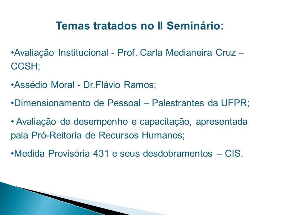 Temas tratados no II Seminário: Avaliação Institucional - Prof. Carla Medianeira Cruz – CCSH; Assédio Moral - Dr.Flávio Ramos; Dimensionamento de Pess