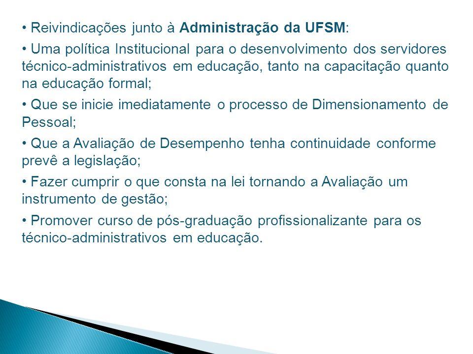 Reivindicações junto à Administração da UFSM: Uma política Institucional para o desenvolvimento dos servidores técnico-administrativos em educação, ta