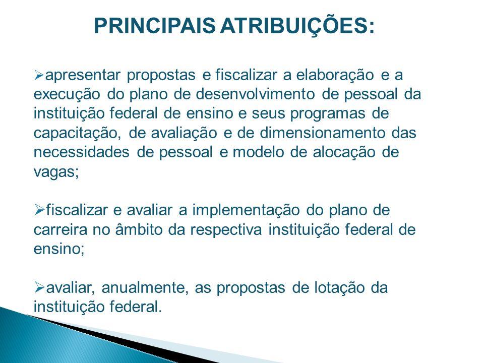 PRINCIPAIS ATRIBUIÇÕES: apresentar propostas e fiscalizar a elaboração e a execução do plano de desenvolvimento de pessoal da instituição federal de e