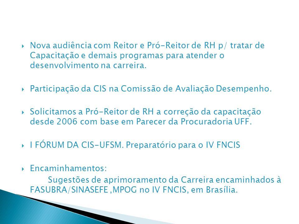 Nova audiência com Reitor e Pró-Reitor de RH p/ tratar de Capacitação e demais programas para atender o desenvolvimento na carreira. Participação da C