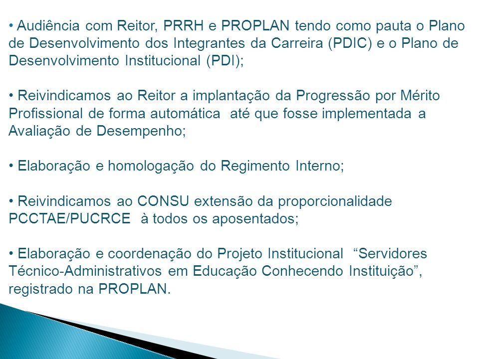 Audiência com Reitor, PRRH e PROPLAN tendo como pauta o Plano de Desenvolvimento dos Integrantes da Carreira (PDIC) e o Plano de Desenvolvimento Insti