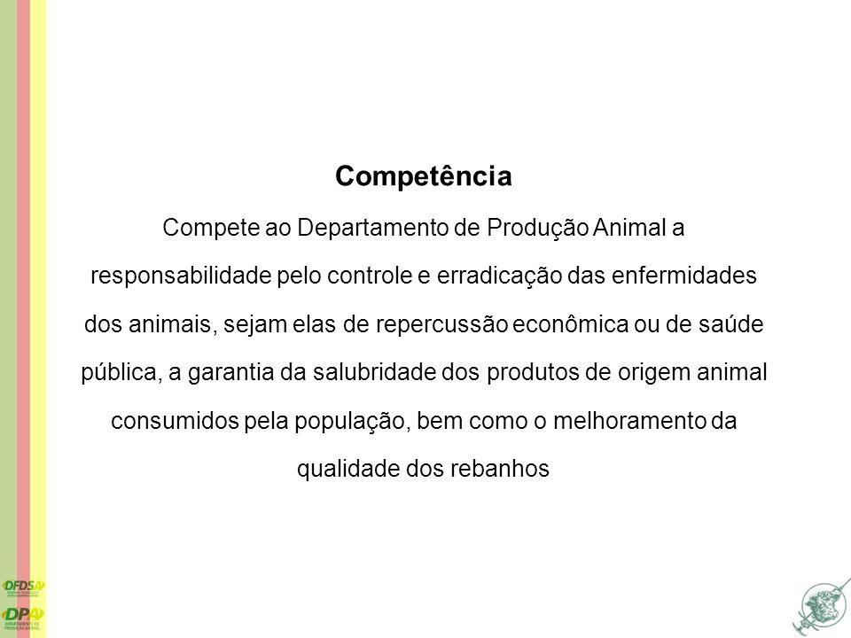 Competência Compete ao Departamento de Produção Animal a responsabilidade pelo controle e erradicação das enfermidades dos animais, sejam elas de repe