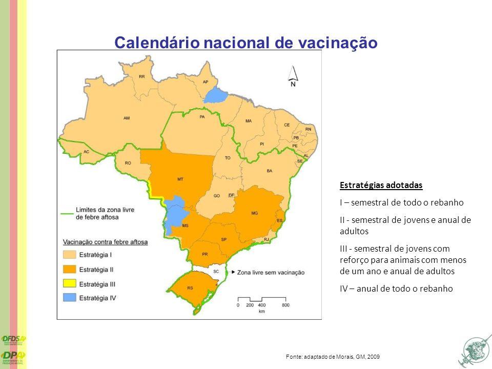 Calendário nacional de vacinação Estratégias adotadas I – semestral de todo o rebanho II - semestral de jovens e anual de adultos III - semestral de j
