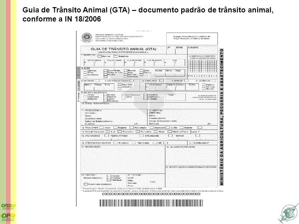 Guia de Trânsito Animal (GTA) – documento padrão de trânsito animal, conforme a IN 18/2006