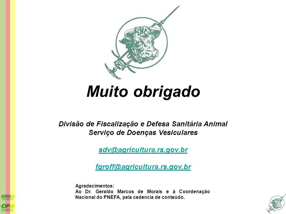 Muito obrigado Divisão de Fiscalização e Defesa Sanitária Animal Serviço de Doenças Vesiculares sdv@agricultura.rs.gov.br fgroff@agricultura.rs.gov.br
