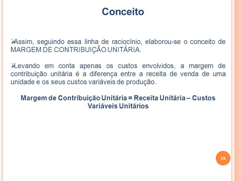 18 Conceito Assim, seguindo essa linha de raciocínio, elaborou-se o conceito de MARGEM DE CONTRIBUIÇÃO UNITÁRIA.