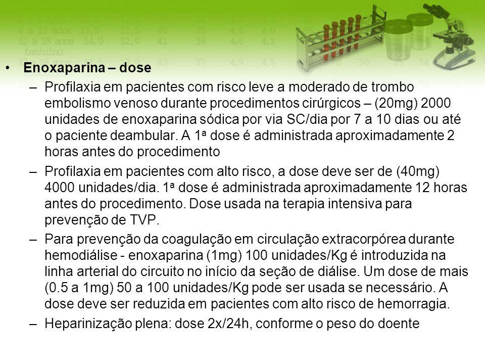 Enoxaparina – dose –Profilaxia em pacientes com risco leve a moderado de trombo embolismo venoso durante procedimentos cirúrgicos – (20mg) 2000 unidad