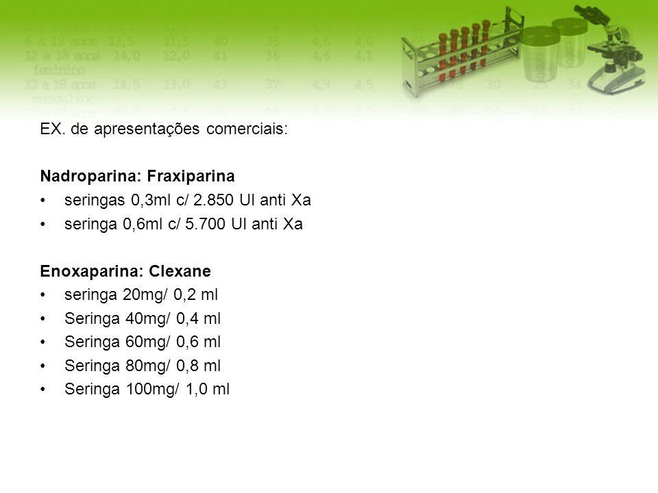 EX. de apresentações comerciais: Nadroparina: Fraxiparina seringas 0,3ml c/ 2.850 UI anti Xa seringa 0,6ml c/ 5.700 UI anti Xa Enoxaparina: Clexane se