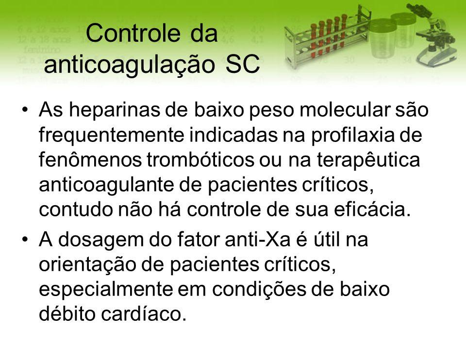 Controle da anticoagulação SC As heparinas de baixo peso molecular são frequentemente indicadas na profilaxia de fenômenos trombóticos ou na terapêuti
