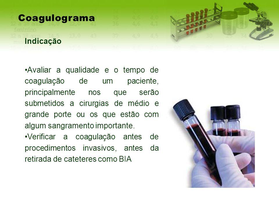 Coagulograma Indicação Avaliar a qualidade e o tempo de coagulação de um paciente, principalmente nos que serão submetidos a cirurgias de médio e gran