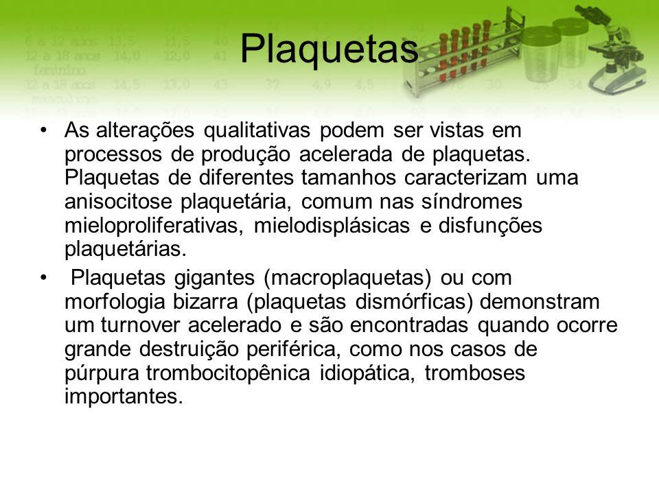 Plaquetas As alterações qualitativas podem ser vistas em processos de produção acelerada de plaquetas. Plaquetas de diferentes tamanhos caracterizam u