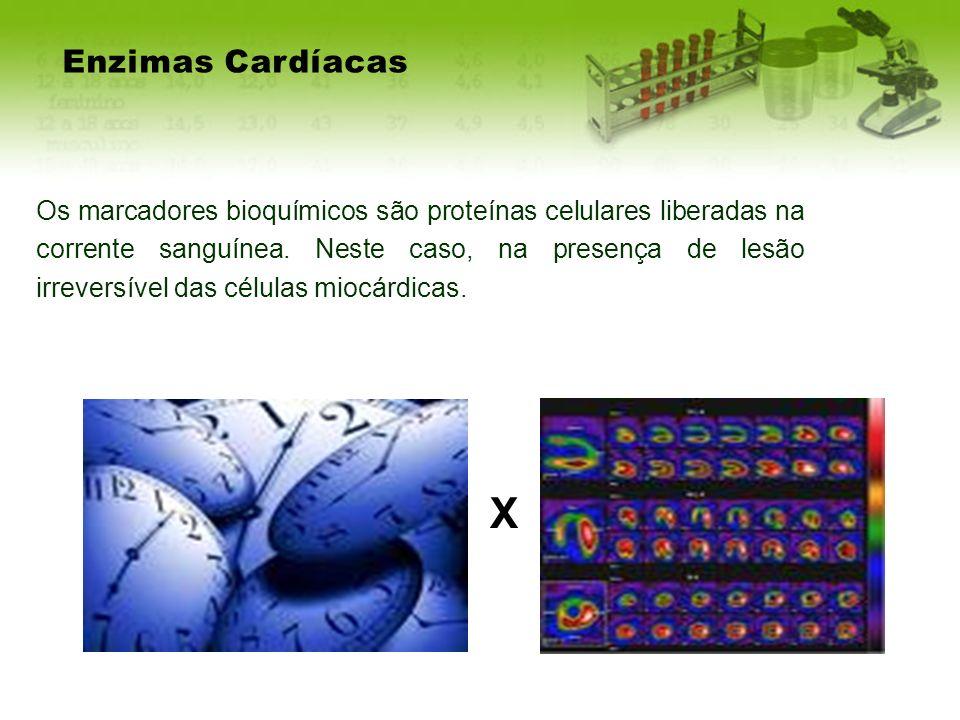 Enzimas Cardíacas Os marcadores bioquímicos são proteínas celulares liberadas na corrente sanguínea. Neste caso, na presença de lesão irreversível das