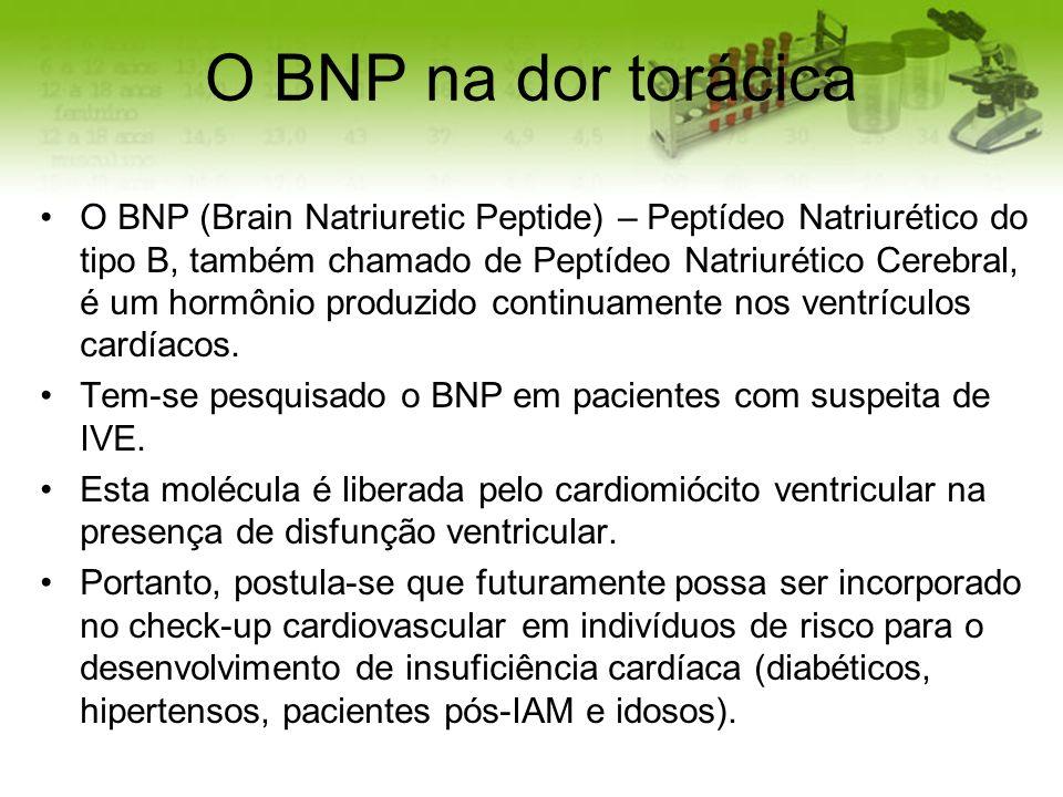 O BNP na dor torácica O BNP (Brain Natriuretic Peptide) – Peptídeo Natriurético do tipo B, também chamado de Peptídeo Natriurético Cerebral, é um horm