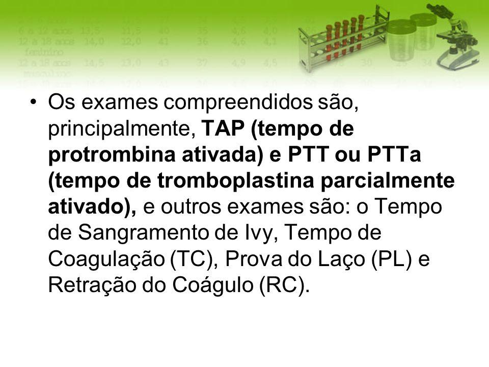 Os exames compreendidos são, principalmente, TAP (tempo de protrombina ativada) e PTT ou PTTa (tempo de tromboplastina parcialmente ativado), e outros