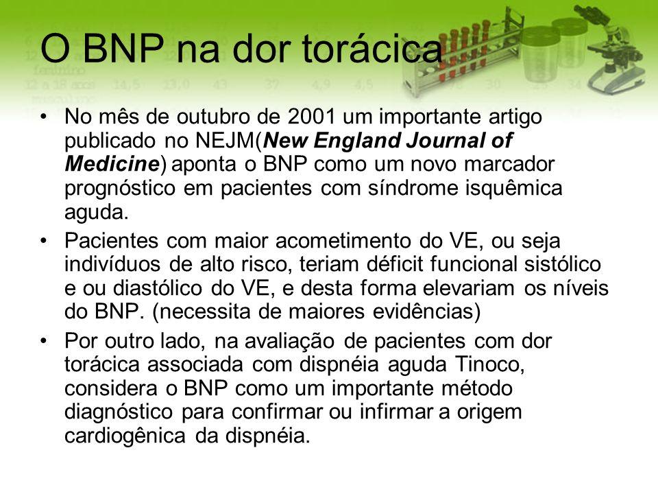 O BNP na dor torácica No mês de outubro de 2001 um importante artigo publicado no NEJM(New England Journal of Medicine) aponta o BNP como um novo marc