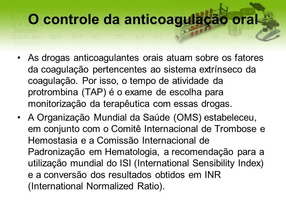 O controle da anticoagulação oral As drogas anticoagulantes orais atuam sobre os fatores da coagulação pertencentes ao sistema extrínseco da coagulaçã